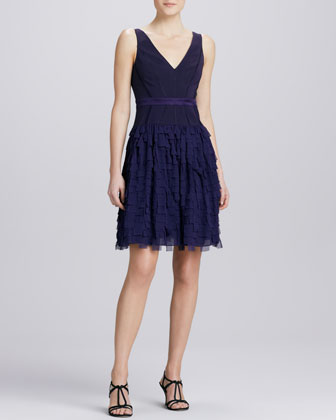 Tiered V-Neck Cocktail Dress