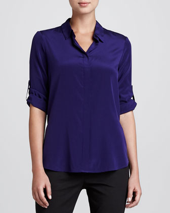 Tab-Sleeve Stretch-Silk Blouse