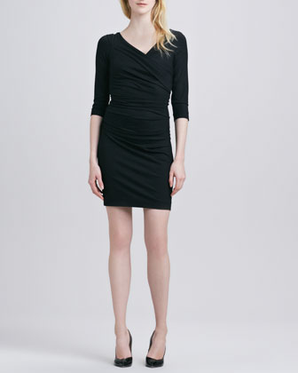 Bentley Faux-Wrap Dress, Black