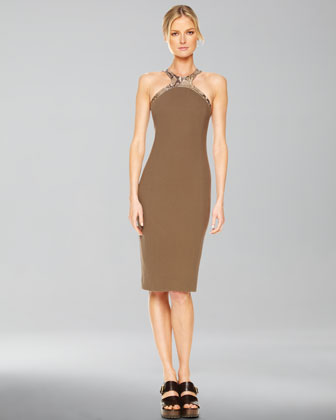 Faux-Python Halter Sheath Dress, Olive