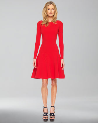 Long-Sleeve Bubble Dress, Red