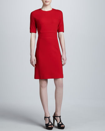 Boucle Crepe Shift Dress, Crimson