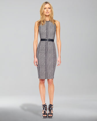 Tweed Belted Sheath Dress