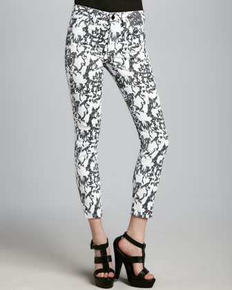 Sketch Print High Water Jeans