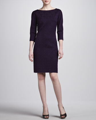 Jacquard Shift Dress, Blackberry