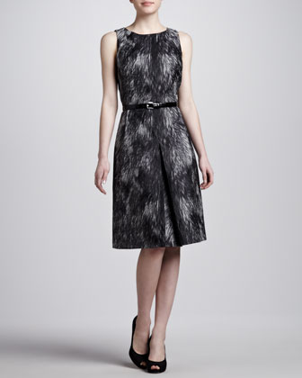 Brocade A-line Belted Dress
