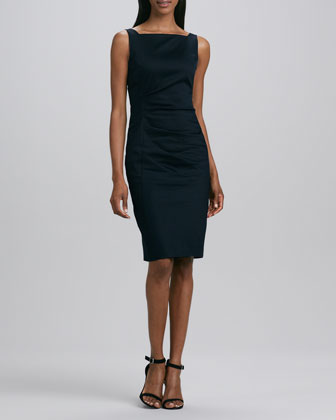 Sleeveless Pique Sheath Dress