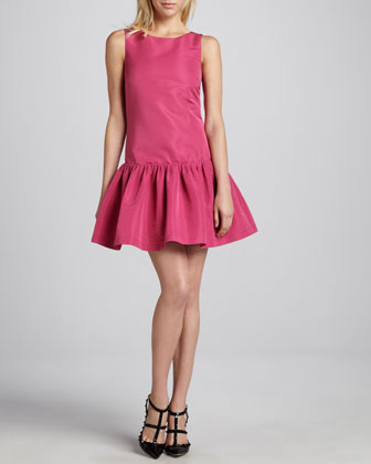 Sleeveless Dropped-Waist Dress, Hibiscus