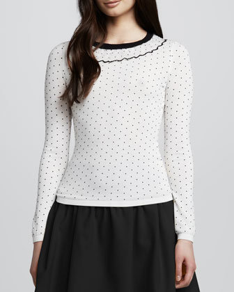 Long-Sleeve Tee with Ruffled Neckline