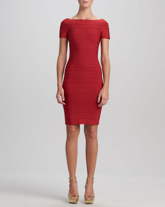 Boat-Neck Bandage Dress