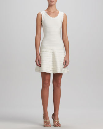 Scallop-Trim A-Line Bandage Dress, Alabaster