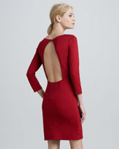 Caro Open-Back 3/4-Sleeve Dress
