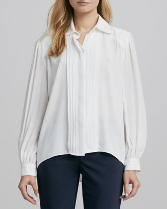 Pintucked Stretch-Silk Blouse