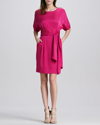 Eleanor Belted Stretch-Silk Dress