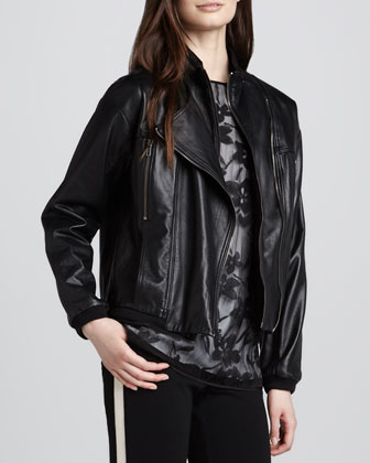 Leather Convertible Collar Motorcycle Jacket