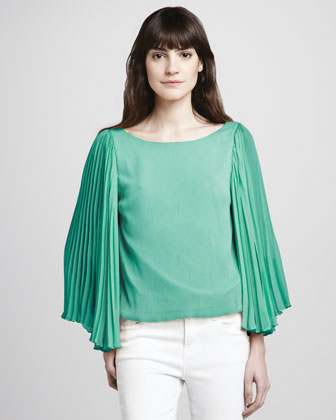 Briar Pleated-Sleeve Blouse, Skylight Aqua