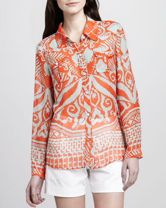 Elisa Sheer Printed Blouse