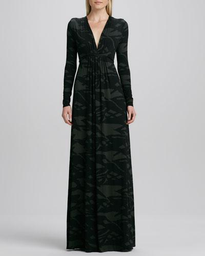 Pine Reflection Long Caftan Dress, Plus Size