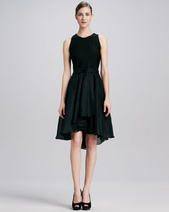 Jewel-Neck Full-Skirt Dress
