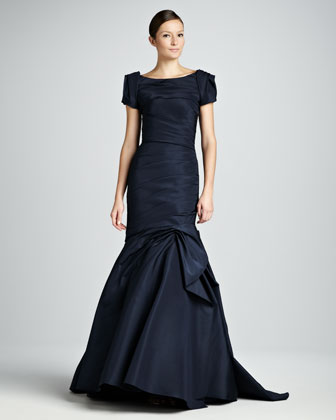 Ruched Trumpet Gown with Bolero Jacket, Navy