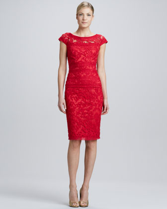 Cap-Sleeve Lace-Overlay Cocktail Dress, Rose