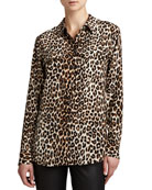 Equipment Slim Signature Leopard-Print Blouse