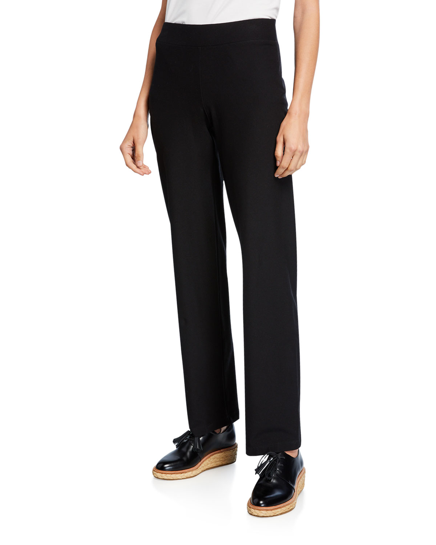 Washable-Crepe Straight-Leg Pants