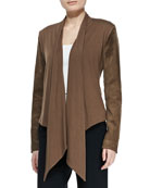 Waterfall Drape-Front Suede Jacket