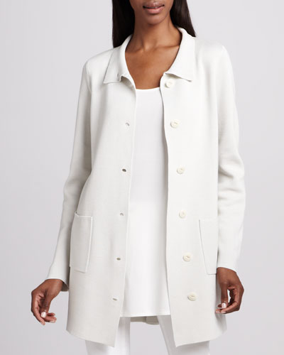 Stand Collar A-line Jacket, Plus Size