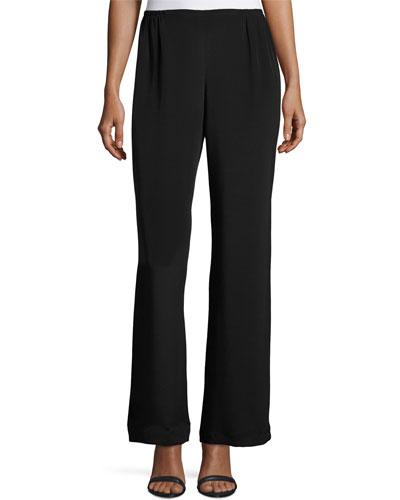 Silk Crepe Wide-Leg Pants, Black