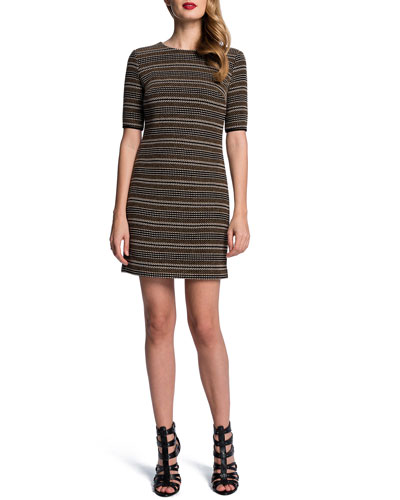 Half-Sleeve Textured Stripe Dress
