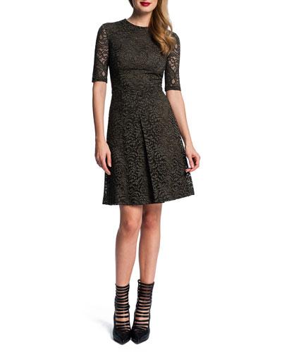 Half-Sleeve Lace Dress W/ Pleat