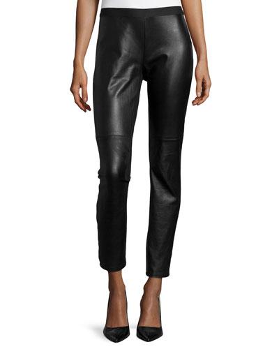 Ponte Leather-Blocked Leggings, Black, Petite