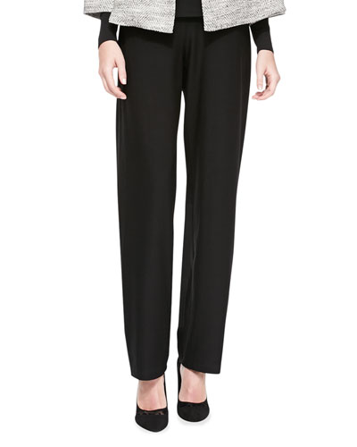Washable-Crepe Straight-Leg Pants, Black, Petite