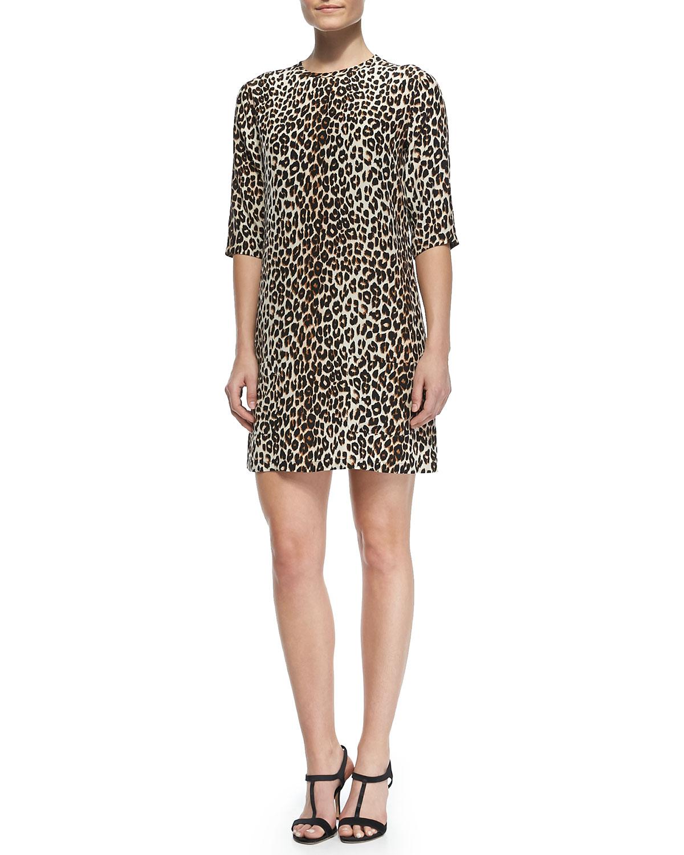 Aubrey Silk Animal-Print Dress