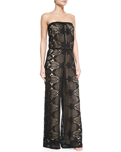 Piper Strapless Lace Jumpsuit Coverup, Black