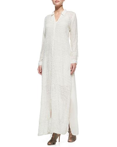 Georgette Button-Front Long Dress, Plus Size