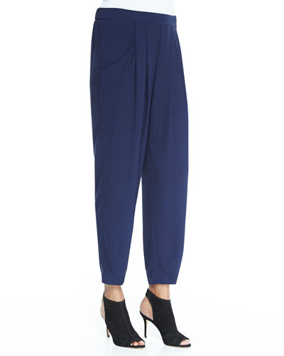 Slouchy Silk Ankle Pants