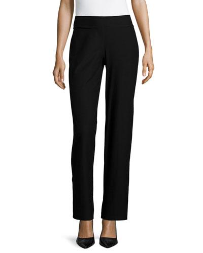 Washable Crepe Modern Wide-Leg Pants, Black, Petite