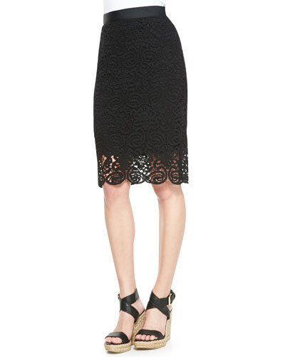 Scarlett Swirly-Lace Pencil Skirt