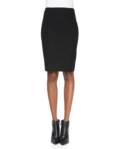Washable Stretch Crepe Pencil Skirt, Plus Size