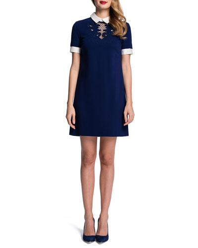 Short-Sleeve Embroidered-Yoke Shift Dress