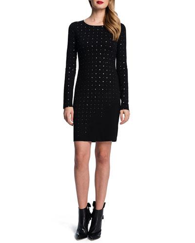 Long-Sleeve Embellished Dress
