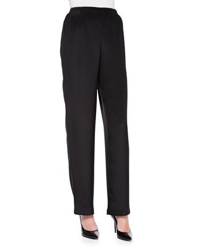 Silk Crepe Straight-Leg Pants, Women's