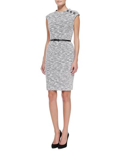 Cap-Sleeve Button-Shoulder Sheath Dress
