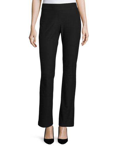 Washable-Crepe Boot-Cut Pants, Black, Petite