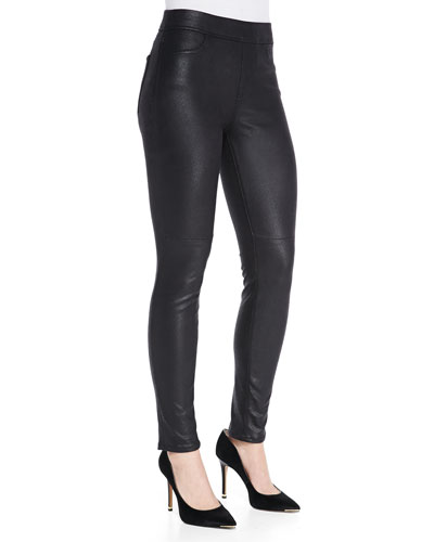Leather-Like Ponte Skinny Jeans