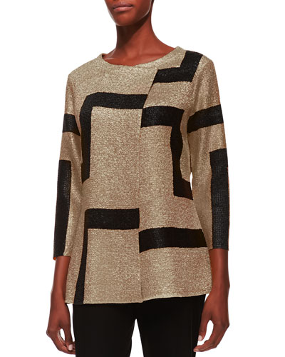3/4-Sleeve Abstract Modern Jacket, Gold