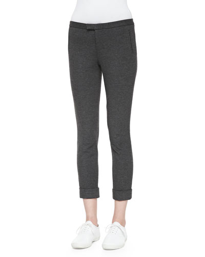 Cropped Ponte Stretch Pants