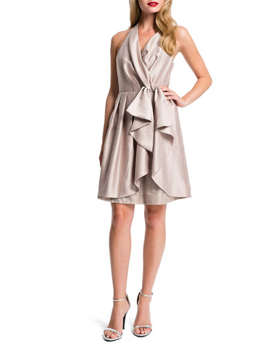 Nettie Shimmer Halter Cascade-Front Dress